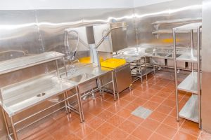 Stainless steel wash up area